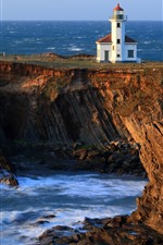 Lighthouse, rocks, sea, cliff