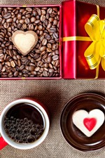Preview iPhone wallpaper Love heart, coffee, cup, coffee bean, gift, romantic