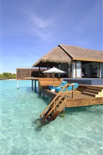 Maldives, bungalows, sea, tropical, summer
