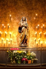 Preview iPhone wallpaper Mary statue, candles, flame