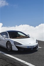 Preview iPhone wallpaper McLaren 570GT white car, clouds, road