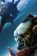 Preview iPhone wallpaper Monster, warrior, fangs, art picture