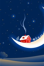 Moon, house, snow, smoke, night, trees, creative picture