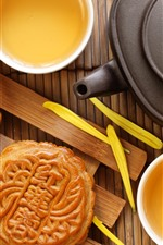 Preview iPhone wallpaper Mooncake, tea, chrysanthemum