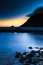 Preview iPhone wallpaper Night, sea, rocks, sunset, blue