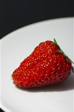 Preview iPhone wallpaper One strawberry close-up, plate