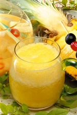 Preview iPhone wallpaper Pineapple juice, drinks, glass cup