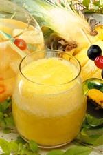 Suco de abacaxi, bebidas, copo de vidro