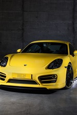 Preview iPhone wallpaper Porsche yellow supercar front view, car