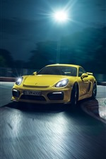 Preview iPhone wallpaper Porsche yellow supercar, speed, night, lights