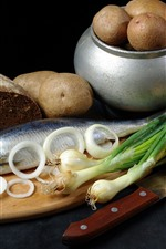 Preview iPhone wallpaper Potatoes, fish, bread, onion