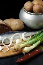 Batata, Peixe, Pão, Cebola