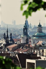 Preview iPhone wallpaper Prague, Czech Republic, city, buildings, green leaves