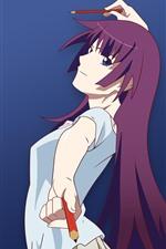 iPhone壁紙のプレビュー 紫髪アニメの女の子、鉛筆