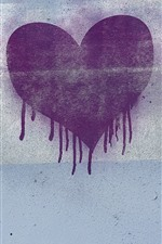 Preview iPhone wallpaper Purple love heart, wall, graffiti