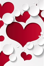 Preview iPhone wallpaper Red love hearts, white background, water droplets