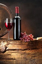 Preview iPhone wallpaper Red wine, grapes, barrel, glass cups, bottle