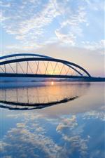 Rio, ponte, nevoeiro, nascer do sol, manhã, céu azul