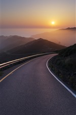 Preview iPhone wallpaper Road, sea, sunrise, fog, mountains