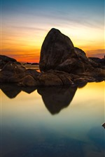Preview iPhone wallpaper Rocks, clear water, sunset, sky