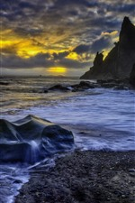 Preview iPhone wallpaper Rocks, sea, water stream, sunset, clouds