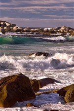 Preview iPhone wallpaper Rocks, stones, sea, waves, foam, coast