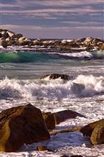 Rocks, stones, sea, waves, foam, coast