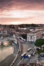 Preview iPhone wallpaper Rome, Italy, houses, street, bridge, river, city