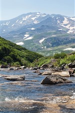 Preview iPhone wallpaper Russia, Kamchatka, mountains, creek, snow