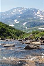 iPhone обои Россия, Камчатка, горы, ручей, снег