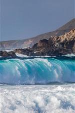 iPhone обои Море, голубая вода, пена, всплеск, берег