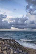 iPhone обои Море, скалы, лестница, облака, вода