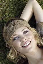 Preview iPhone wallpaper Smile blonde girl, ground, pose