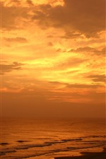 Preview iPhone wallpaper Sunset, sea, clouds, palm trees, beach, orange sky