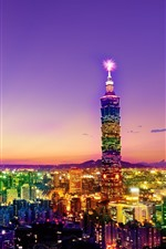 Preview iPhone wallpaper Taiwan, Taipei, city at night, skyscrapers, lights, colorful