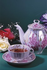 Tea, cup, kettle, yellow and red rose, gift