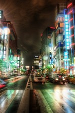 Preview iPhone wallpaper Tokyo, city, night, road, cars, buildings, lights, Japan