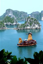 Tropical, blue sea, boat, island, leaves