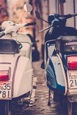 Preview iPhone wallpaper Two motorcycles, street, retro style, city