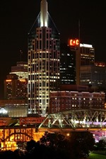 Preview iPhone wallpaper USA, Nashville, city, night, buildings, bridge, lights