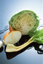 Preview iPhone wallpaper Vegetable, cabbage, onion, mushroom, water