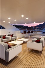 Preview iPhone wallpaper Yacht, interior, chairs, sofa