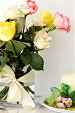 Preview iPhone wallpaper Yellow pink white roses, candle