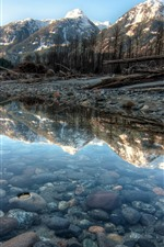 Preview iPhone wallpaper Yoho National Park, Canada, mountains, stones, puddle