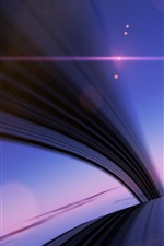 Preview iPhone wallpaper Abstract lines, bridge, sun, clouds, stars