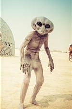 Preview iPhone wallpaper Alien, beach, UFO