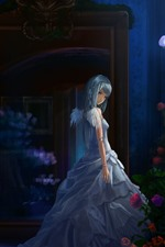 Preview iPhone wallpaper Anime girl, night, roses, wings, angel