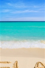 Preview iPhone wallpaper Beach, sea, blue, water, foam