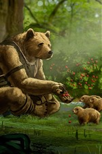 Preview iPhone wallpaper Bear, cubs, forest, berries, art painting