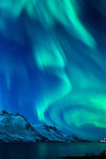 Preview iPhone wallpaper Beautiful northern lights, river, mountains, snow, moon, stars